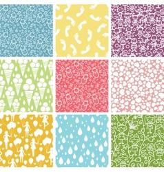 Set of nine kiddie things seamless patterns vector