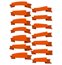 set of orange cartoon ribbons and banners vector image
