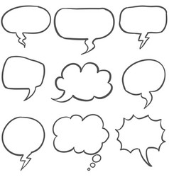 Set of text balloon style hand draw vector