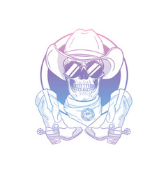 sketch skull with cowboy hat vector image