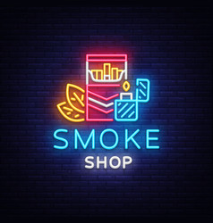 Smoke store logo neon cigarette shop neon vector