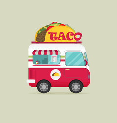 Street food van fast food delivery flat design vector