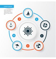 Sun icons set collection of parasol ship dinghy vector