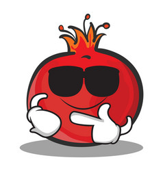 super cool pomegranate cartoon character style vector image