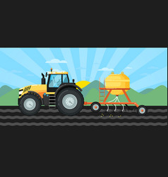 tractor seeding crops at field in spring landscape vector image