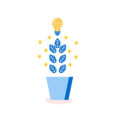 Tree with leaves and lightbulbs idea plant icon vector