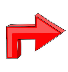 Turn right next red arrow hand drawn sign vector