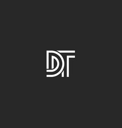 Two letters monogram logo dt or td initials vector