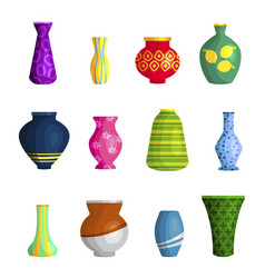 Vases ceramic different shapes and colors vector