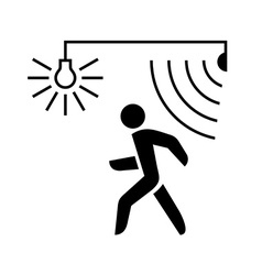 Walking man silhouette with lamp and sensor waves vector image