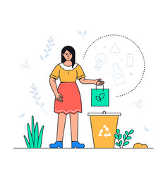 waste sorting - colorful flat design style vector image
