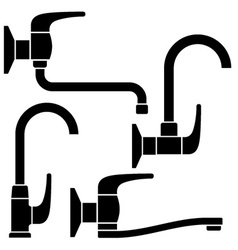 Water tap black symbols vector
