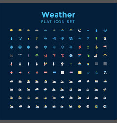 weather flat icon set vector image