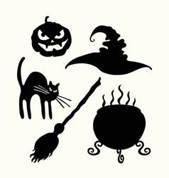 Witch hat pumpkin lantern cat broom and vector