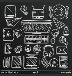 chalkboard sketch work style set icon 2 vector image