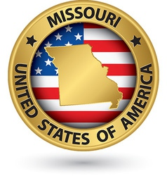 Missouri state gold label with state map vector image vector image