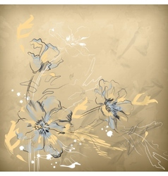 Pencil Hand Drawing Flowers vector image vector image
