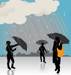 peoples under the rain vector image vector image