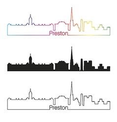 Preston skyline linear style with rainbow vector image vector image