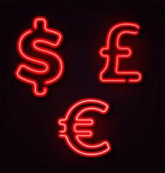 currency neon symbols vector image vector image
