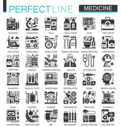 medical and healthcare black mini concept icons vector image vector image