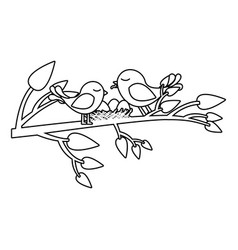 Monochrome silhouette of birds and nest in tree vector