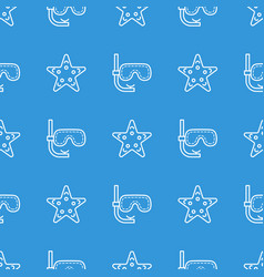 seamless pattern with mask and starfish vector image