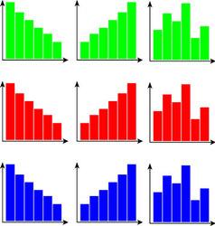 Set of diagram color flat vector image