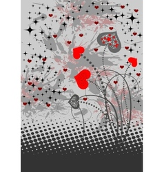Abstract background with red hearts vector image vector image