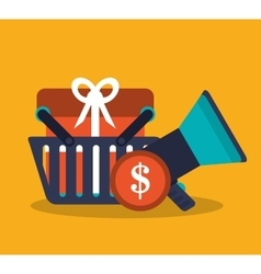Basket shopping and ecommerce design vector