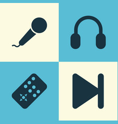 Multimedia icons set collection of earmuff vector