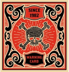 Warning card Baroque style Layered vector image