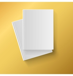 Blank white books on yellow background vector image vector image
