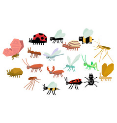cartoon set of various funny insects mite vector image