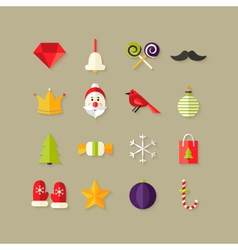 Christmas Flat Icons Set 1 vector image vector image