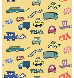 Hand-drawn doodle-style cars seamless pattern vector image vector image