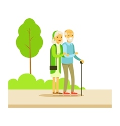 Old Couple Walking Holding Hands Part Of People vector image vector image