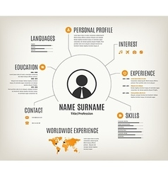 web cv or resume template with world map vector image