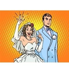 Wedding groom and happy bride vector image vector image