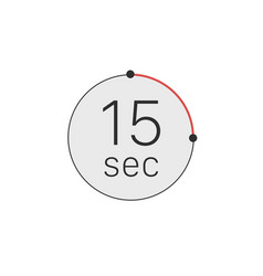 15 seconds timer stopwatch or countdown icon time vector