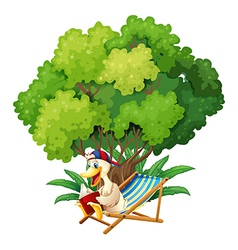 A duck reading under the tree vector image