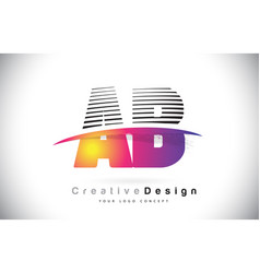Ab a b letter logo design with creative lines vector