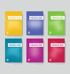abstract halftone cover design template set vector image