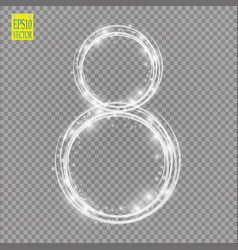 Alphabets number 8 eight of white glittering vector