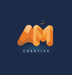 Am letter with origami triangles logo creative vector