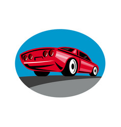 American muscle car oval retro vector