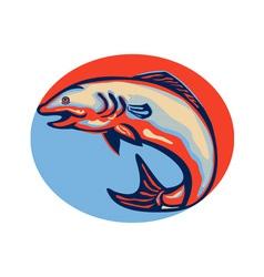 Atlantic salmon fish jumping retro vector