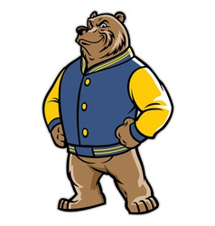 Bear school mascot wear varsity jacket vector
