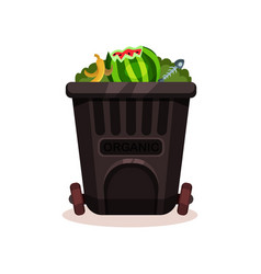black plastic container for organic waste peel of vector image