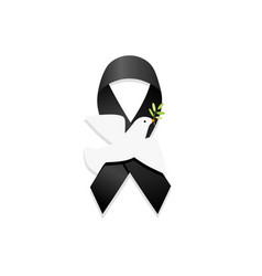 Black ribbon with peace dove vector